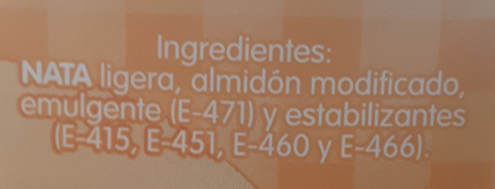 Nata Ligera Uht 15% Materia Grasa - Ingredients