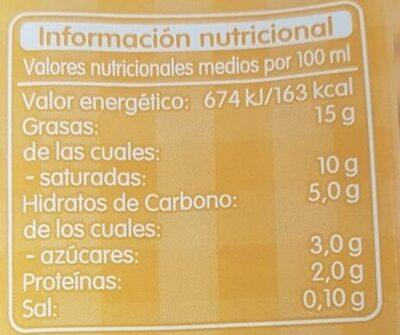 Nata Ligera Uht 15% Materia Grasa - Nutrition facts