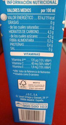 Mediterráneo zumo fruta y leche - Valori nutrizionali - es