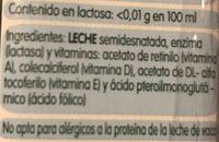 Leche semidesnatada sin lactosa - Ingredientes