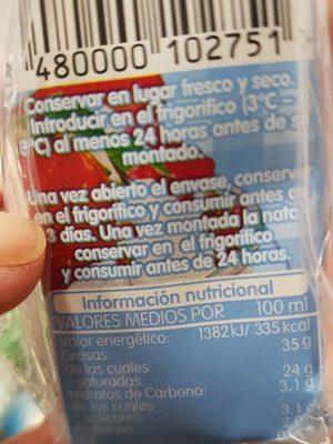 Schlagsahne 35%,Nara De Montar - Información nutricional