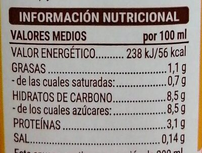 Batido de vainilla - Informations nutritionnelles - es