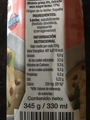 Leche Evaporada - Informació nutricional