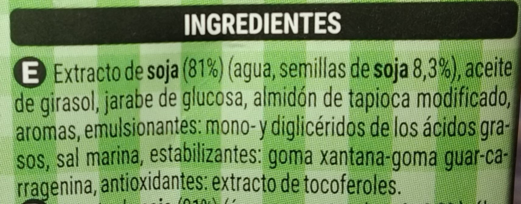Crema de soja - Ingredients