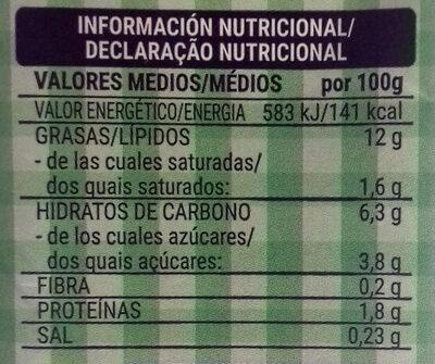 Crema de soja - Informació nutricional