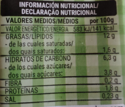 Crema soja - Informació nutricional