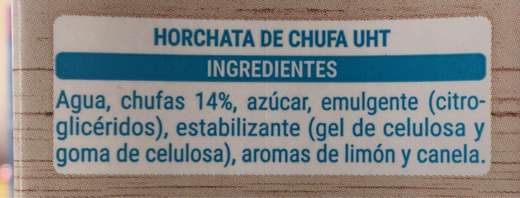 Horchata de chufa - Ingredientes - es