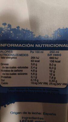 Leche entera - Nutrition facts - es