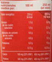 Leche semidesnatada +proteinas - Informations nutritionnelles - es