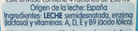 Leche semidesnatada Sin Lactosa - Ingredients