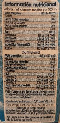 Leche semidesnatada Sin Lactosa - Nutrition facts