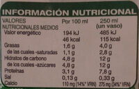 Leche semidesnatada - Nutrition facts - es