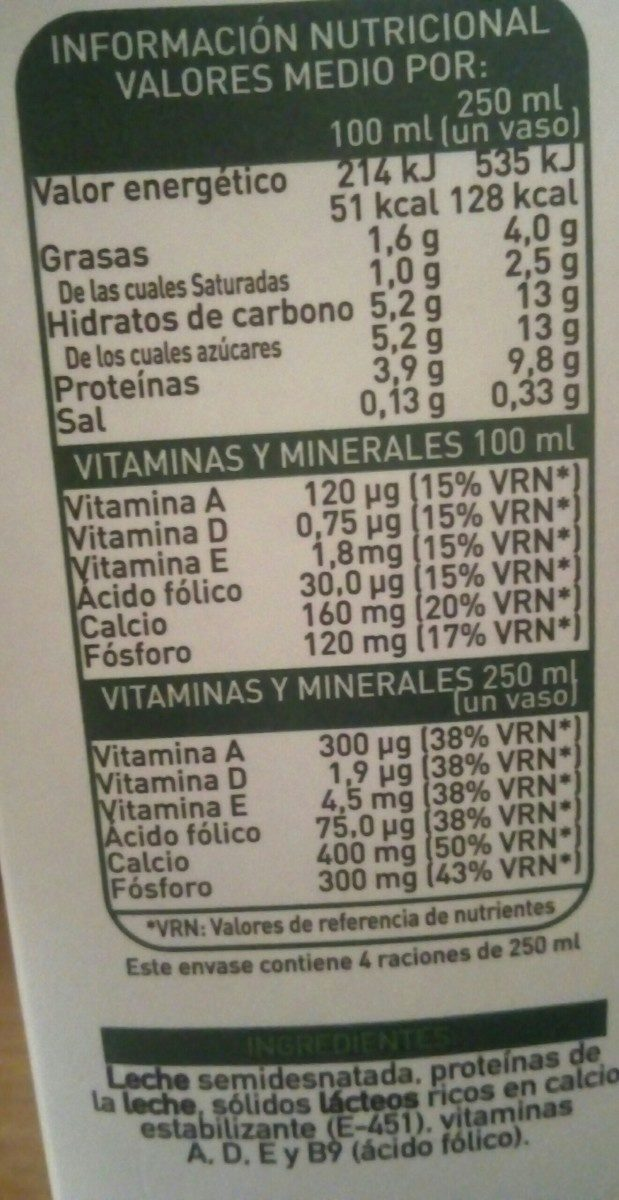 Leche semidesnatada enriquecida con calcio 100% natural - Ingrédients - fr