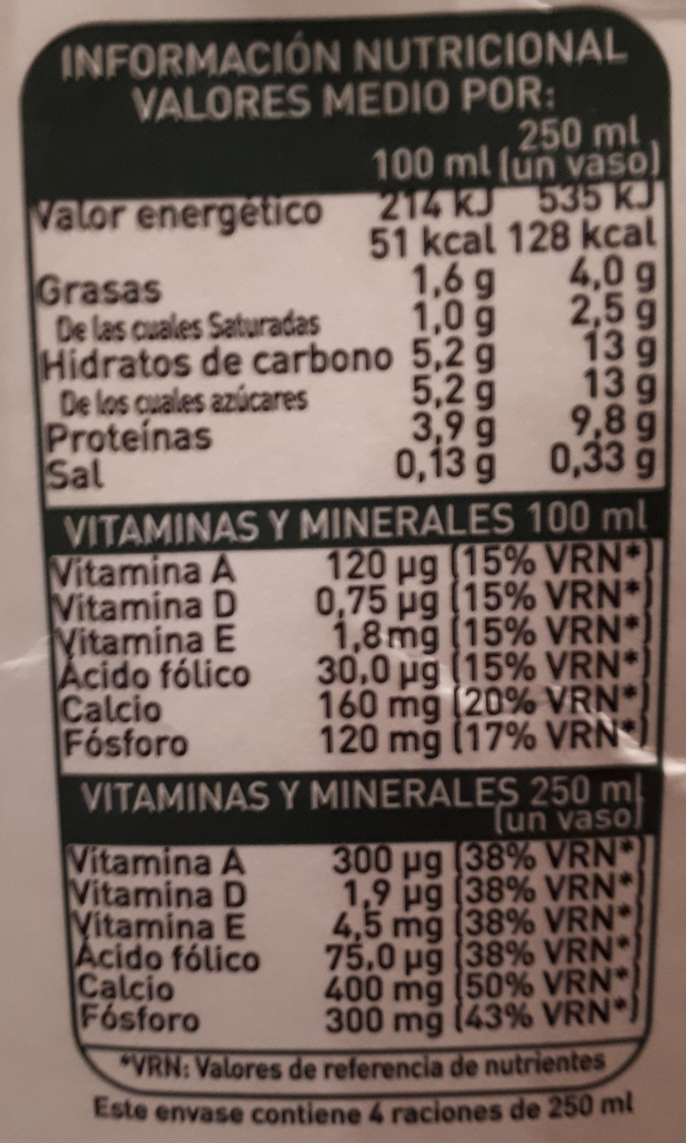Leche semidesnatada con calcio 100% natural - Nutrition facts