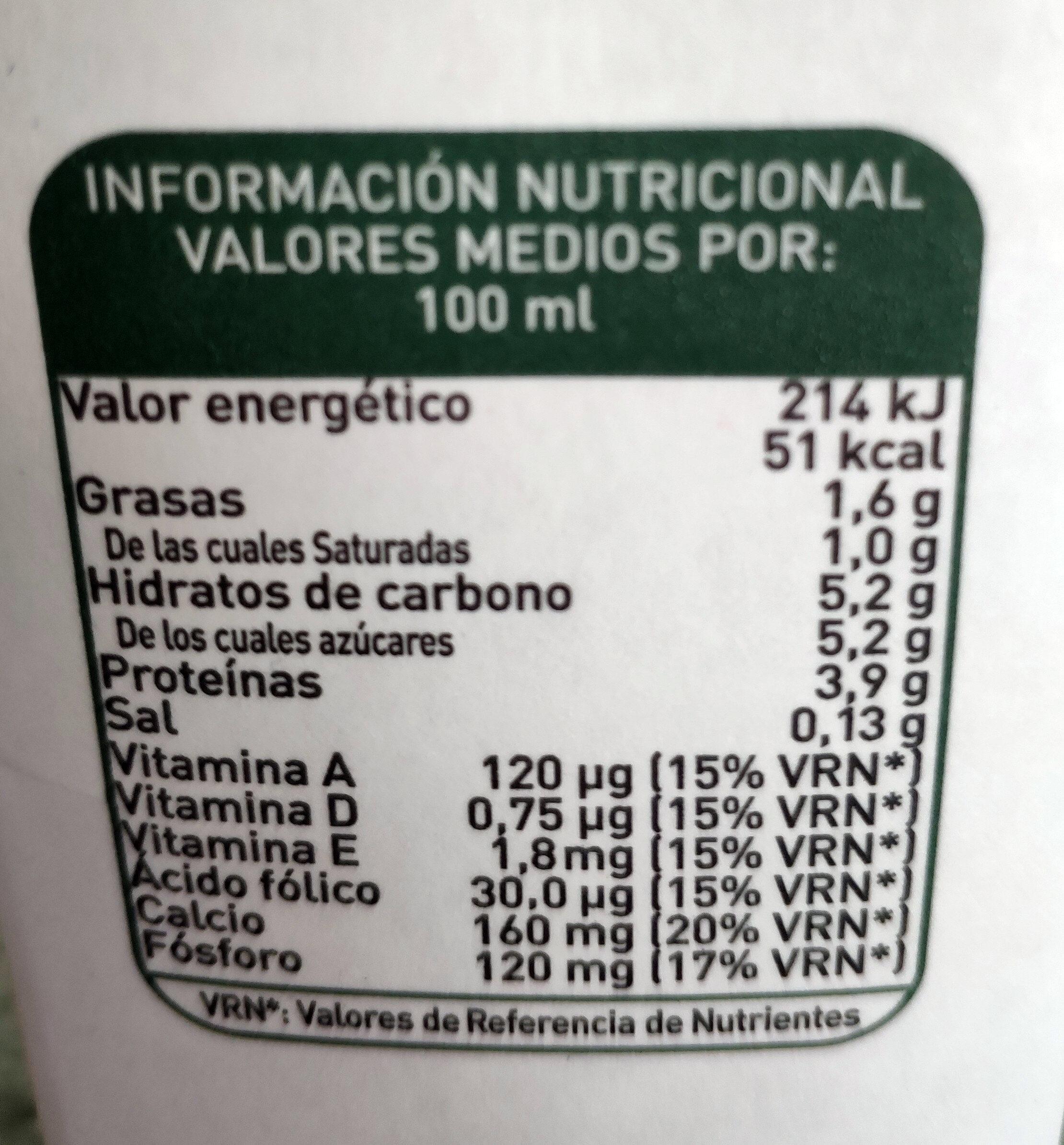 Leche semidesnatada enriquecida con calcio 100% natural - Informations nutritionnelles - es