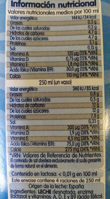 Leche desnatada sin lactosa - Información nutricional - es