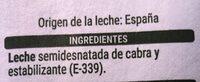 Leche de cabra semidesnatada - Ingredienti - es