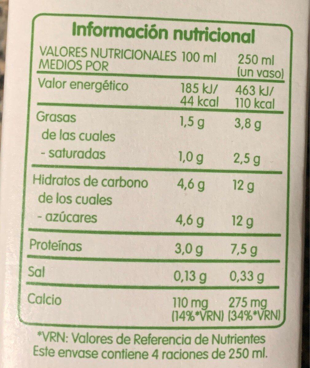 Leche fresca semidesnatada - Voedigswaarden