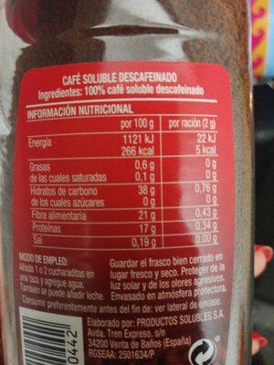 Café Soluble Descafeinado - Informations nutritionnelles