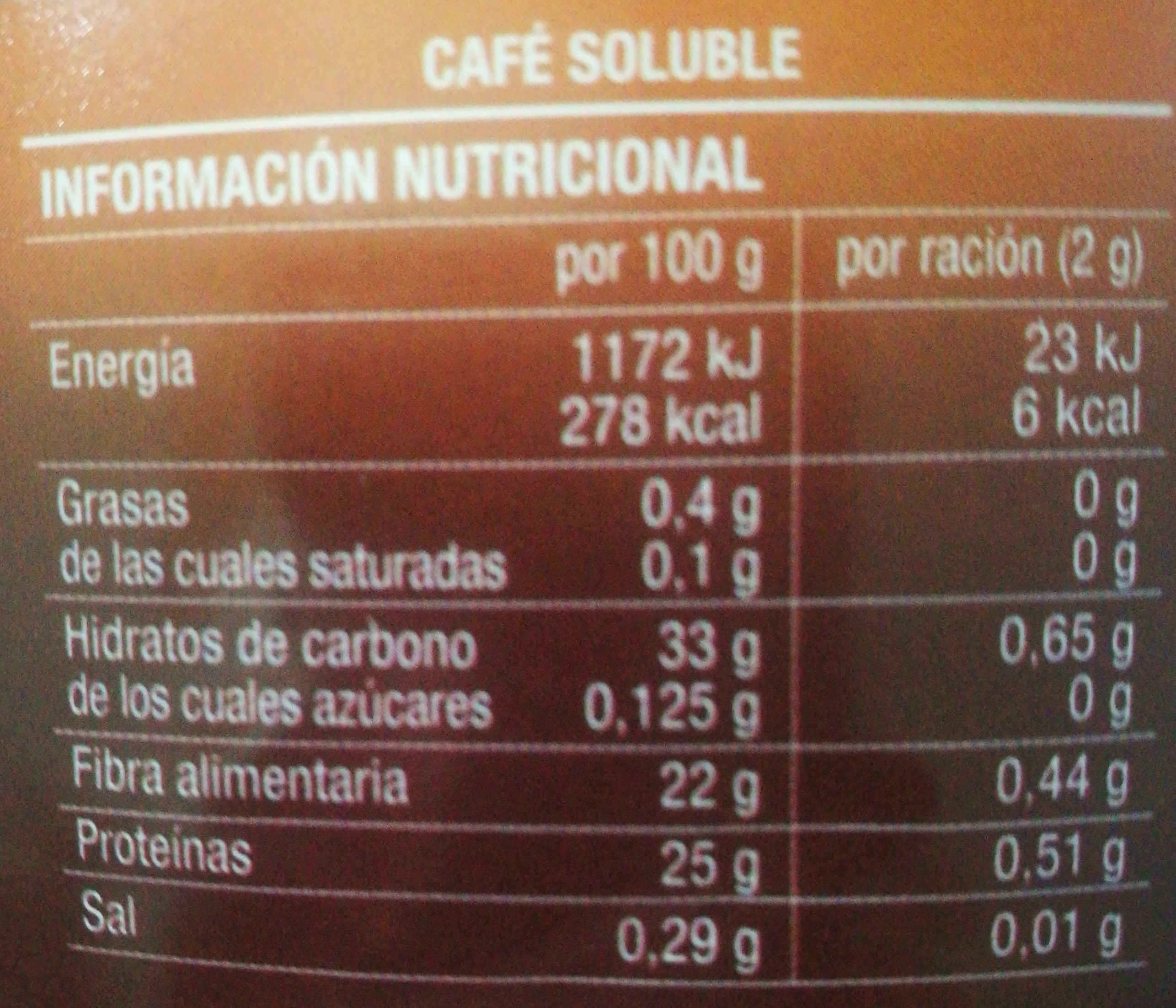 Cafe soluble clasico. Hacendado. - Nutrition facts