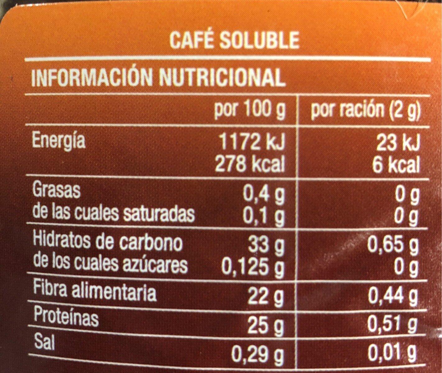 Cafe soluble Clásico - Información nutricional - es