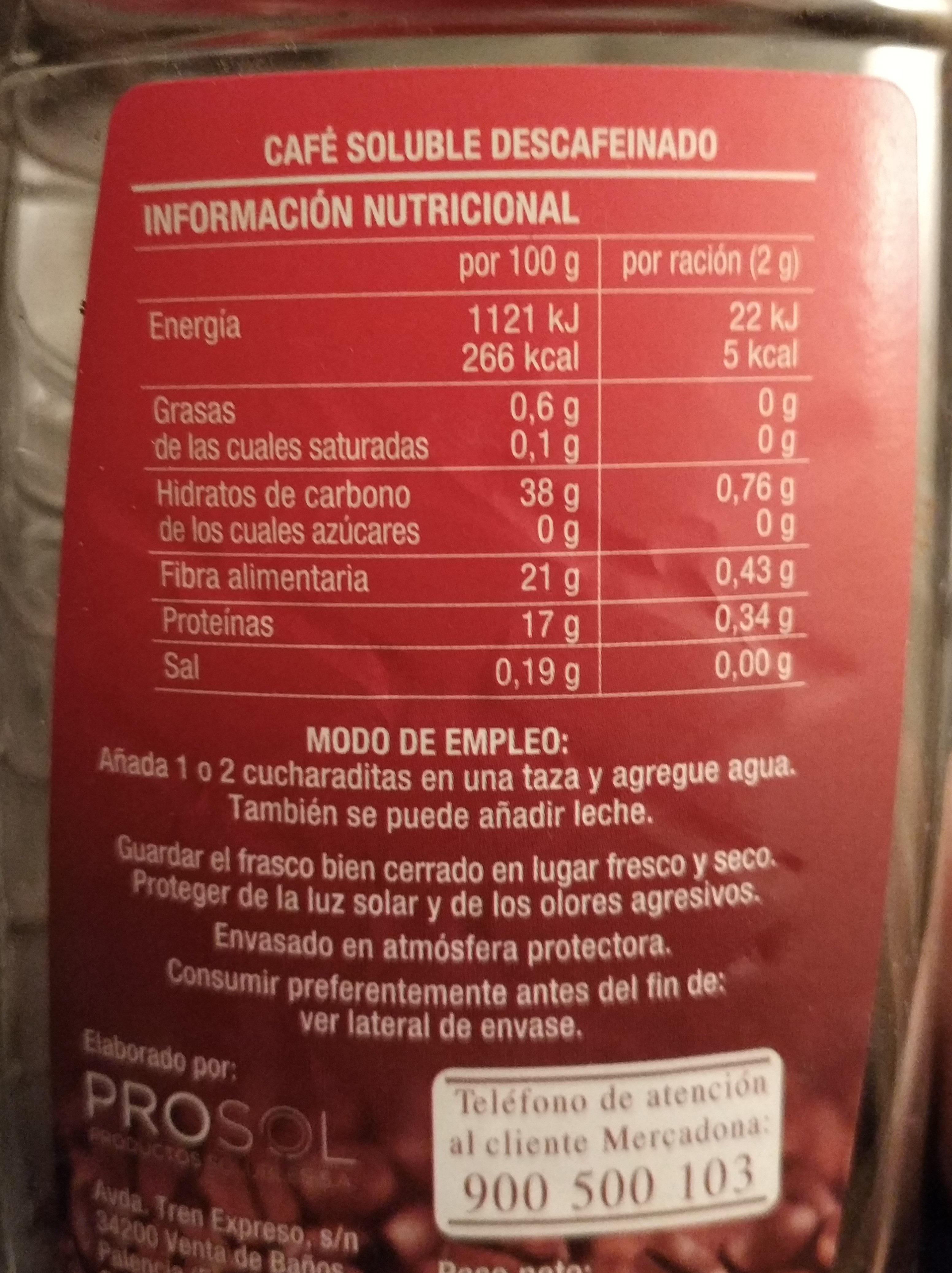 Café descafeinado soluble - Informations nutritionnelles