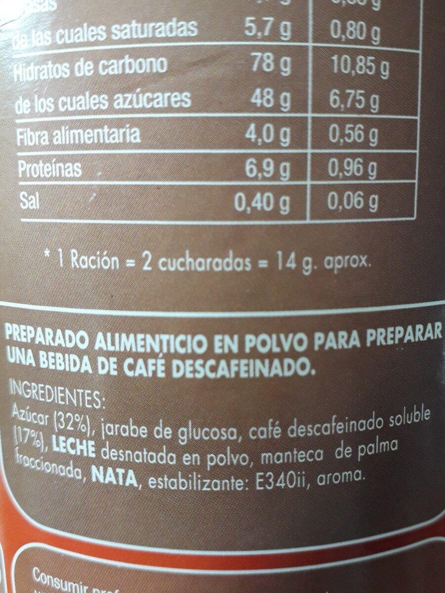 Cappuccino Descafeinado sabor cafe - Ingredients - es