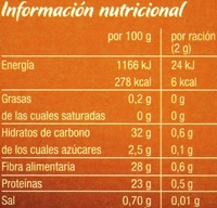 Café clásico natural - Información nutricional - es
