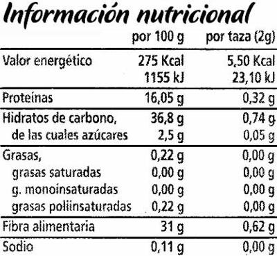 Clasico descafeinado - Información nutricional - es