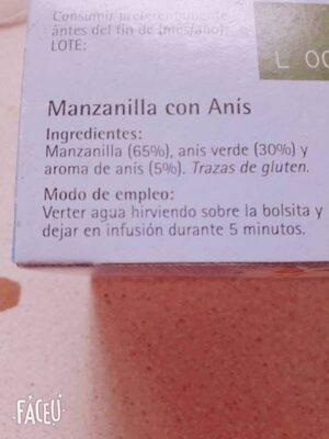 Manzanilla con Anís - Ingredientes