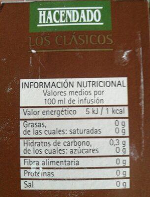 Te descafeinado - Nutrition facts - es