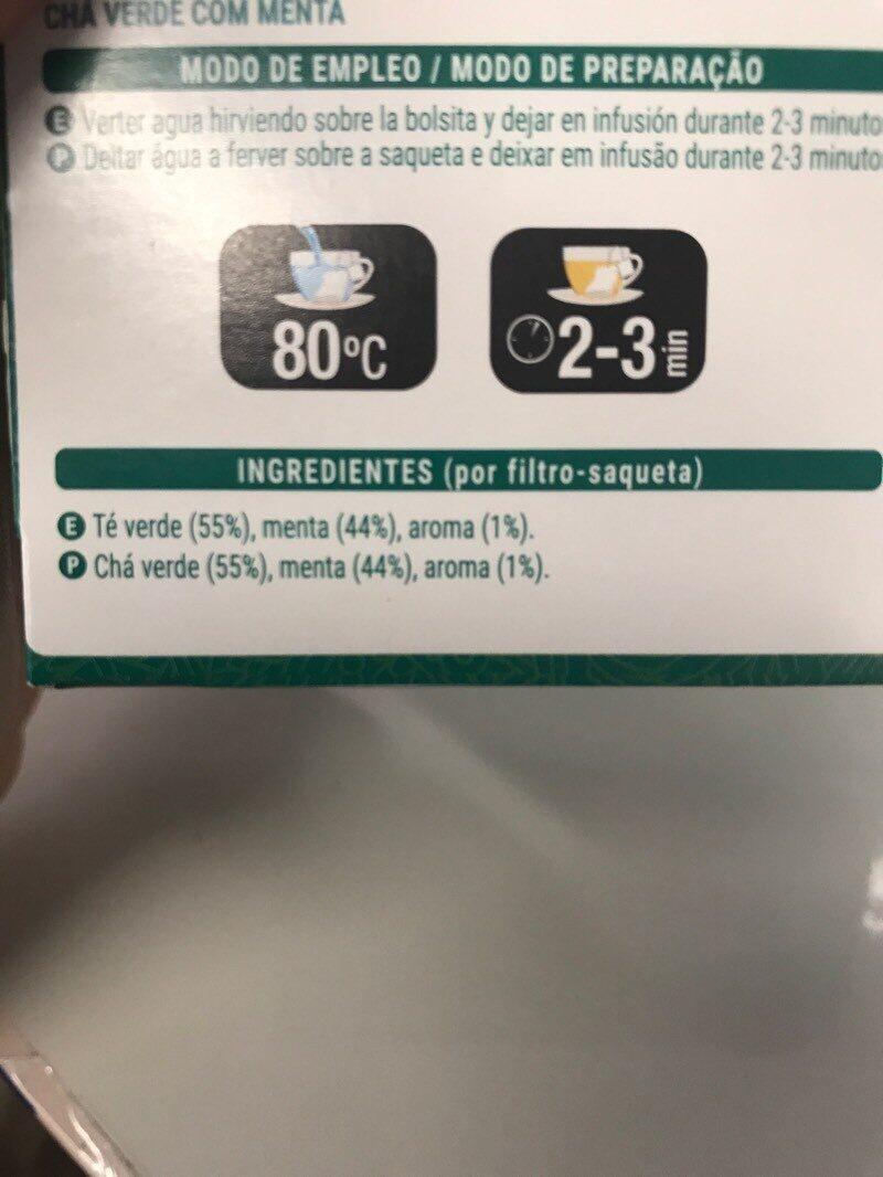 Té verde menta - Ingrediënten