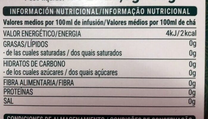 Té verde menta - Voedingswaarden - es