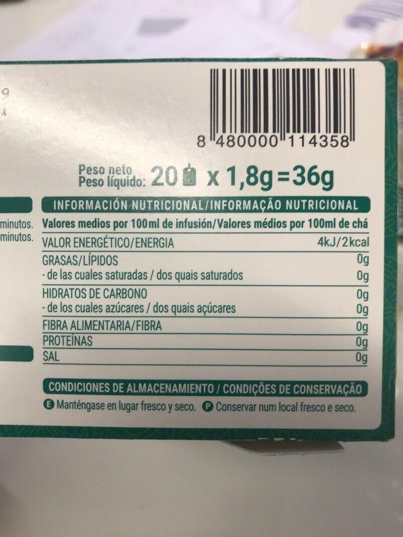 Té verde menta - Voedigswaarden