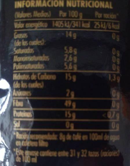 Café Molido De Tueste Natural - Información nutricional