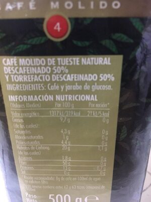 Café descafeinado mezcla - Ingredients