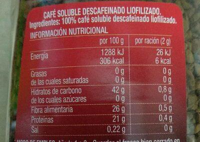 Café soluble descafeinado Selección - Informations nutritionnelles