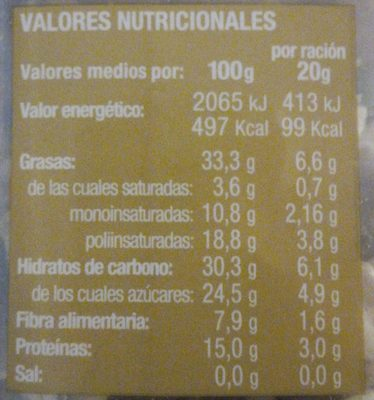 Combinado de Frutos Secos - Nutrition facts