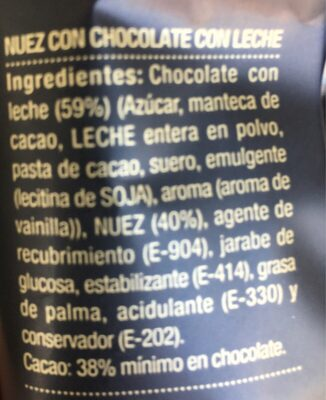 Nuez con chocolate con leche - Ingredients - es