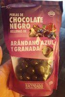 Perlas de chocolate negro rellenas de arándano azul y granada - Producto