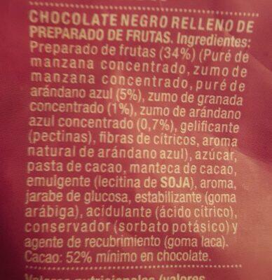 Perlas de chocolate negro rellenas de arándano azul y granada - Ingredients