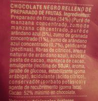 Perlas de chocolate negro rellenas de arándano azul y granada - Ingredientes