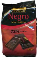 Mini tabletas de chocolate negro 72% cacao - Producto
