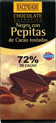 Chocolate negro con pepitas de cacao 72% cacao - Product