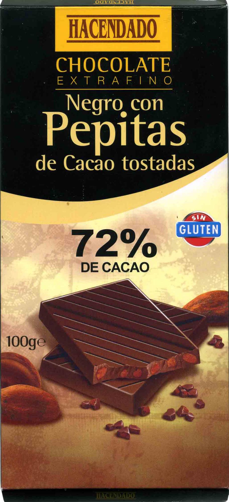 Chocolate negro 72% con pepitas de cacao - Product