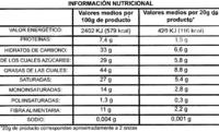 Tableta de chocolate negro 72% cacao - DESCATALOGADO - Información nutricional - es