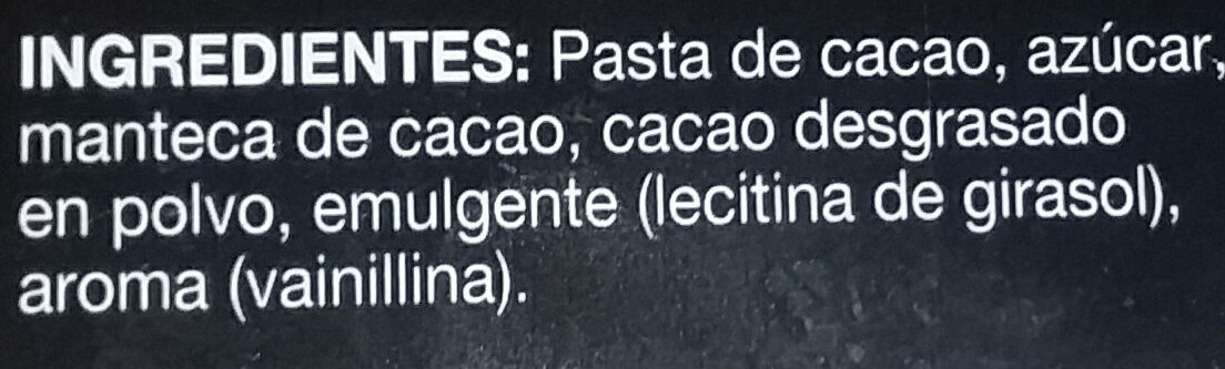 Chocolate extrafino negro mini tabletas - Ingredients - es