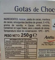 Gotas de Chocolate - Voedingswaarden - es