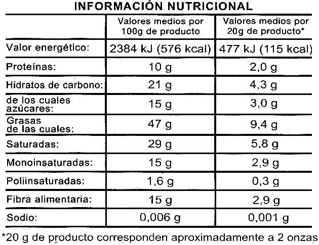 Chocolate negro 85% cacao - Voedingswaarden - es