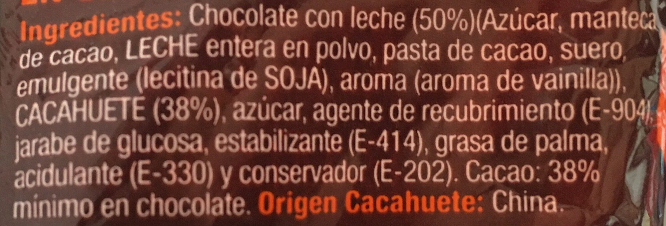 Cacahuetes bañados en chocolate con leche - Ingredients